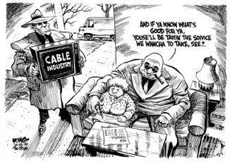 Editorial cartoon -- Human trafficking